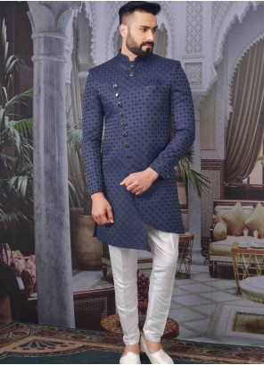 Printed Jacquard Indo Western in Blue