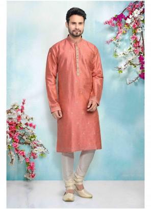 Printed Jacquard Kurta Pyjama in Pink