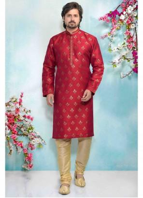 Printed Jacquard Silk Kurta Pyjama in Pink