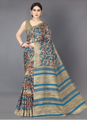 Printed Khadi Silk Classic Designer Saree
