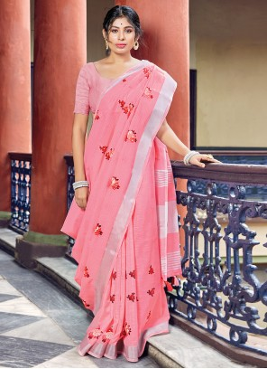 Pink Printed Linen Classic Saree