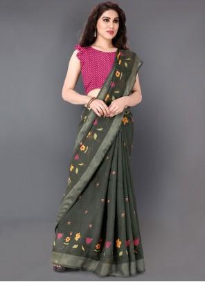 Printed Linen Green Casual Saree