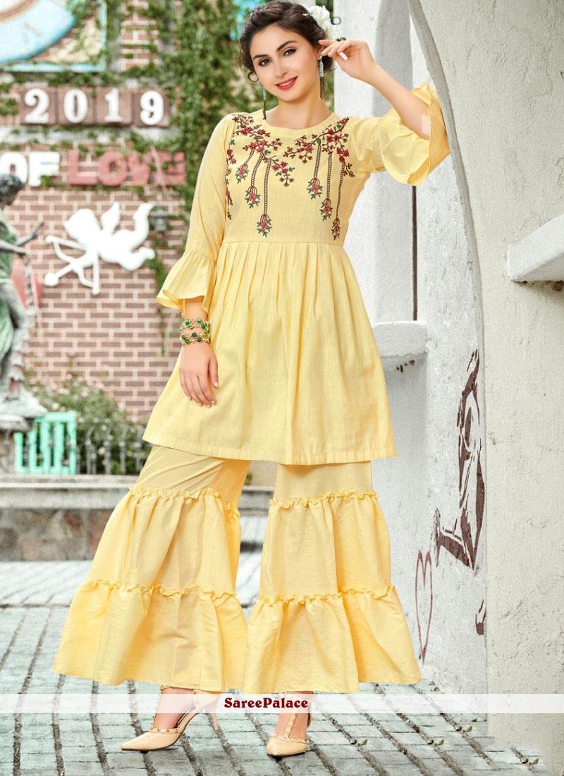 Printed Linen Yellow Designer Pakistani Salwar Suit