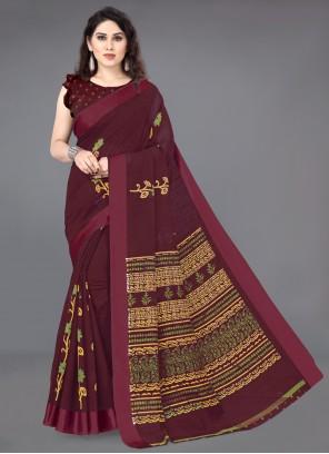 Printed Maroon Traditional Designer Saree