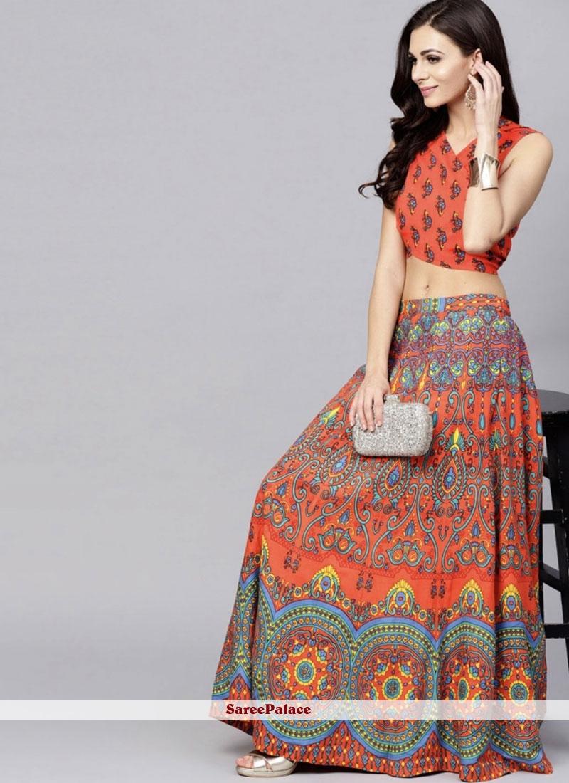 Printed Multi Colour and Orange Viscose Readymade Lehenga Choli