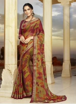 Printed Multi Colour Classic Designer Saree