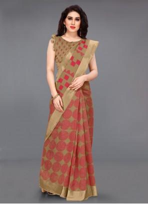 Printed Multi Colour Cotton Contemporary Saree
