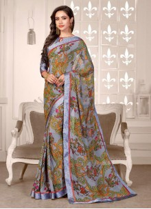 Printed Multi Colour Satin Saree