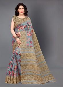 Printed Multi Colour Silk Casual Saree