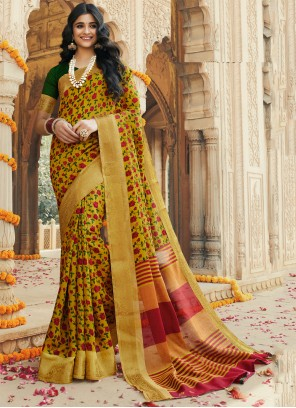 Printed Multi Colour Silk Contemporary Saree