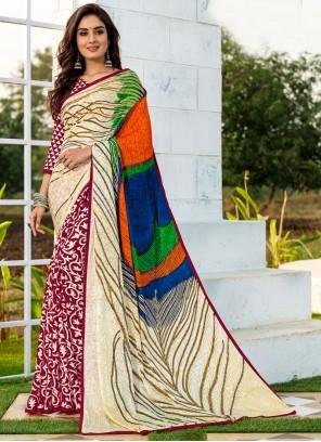 Printed Multi Colour Silk Printed Saree
