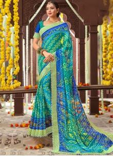 Printed Navy Blue Faux Chiffon Traditional Saree