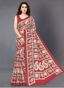 Printed Off White and Red Silk Silk Saree