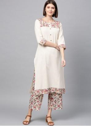 Printed Off White Fancy Fabric Casual Kurti