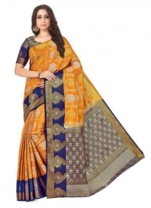 Printed Orange Designer Traditional Saree