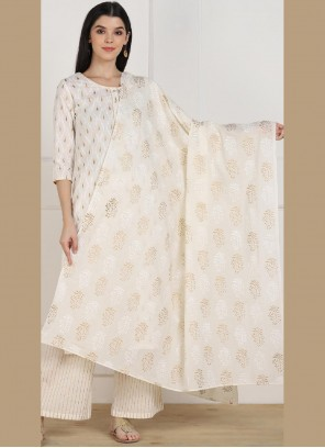 Off White Printed Party Casual Kurti