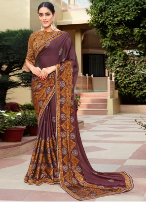 Brown Printed Party Classic Saree