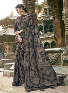 Grey Printed Party Contemporary Saree