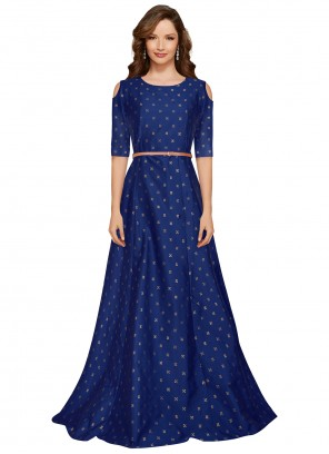 Printed Party Blue Designer Gown