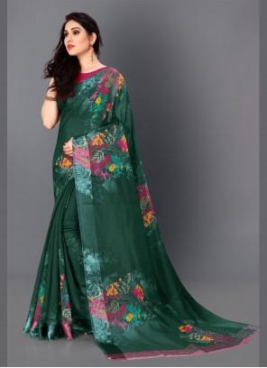 Printed Party Sea Green Traditional Saree