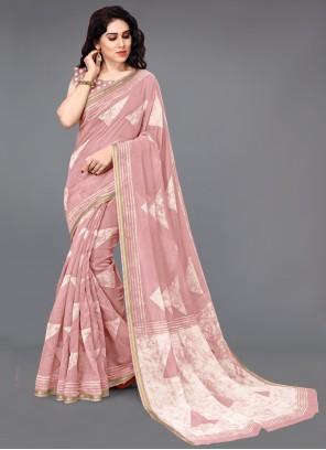 Peach Cotton Printed Saree