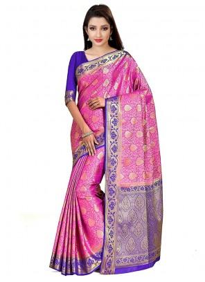 Printed Pink Art Silk Designer Traditional Saree