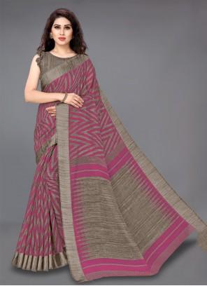 Printed Pink Cotton Casual Saree