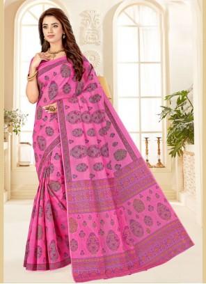 Printed Pink Cotton Contemporary Saree