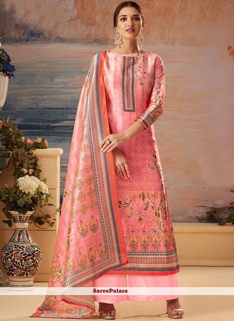 490d3df61f Buy Printed Pink Palazzo Designer Salwar Kameez Online