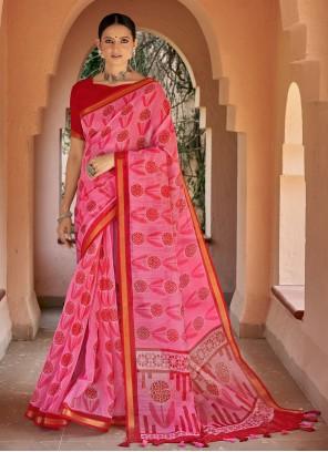 Casual Pink Printed Saree