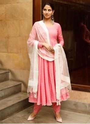 Printed Pink Rayon Anarkali Salwar Suit