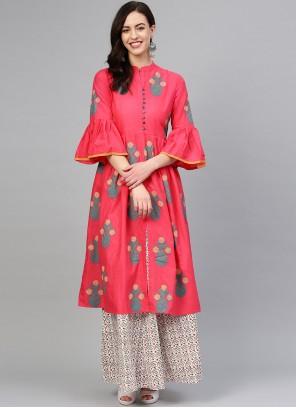 Printed Pink Salwar Suit