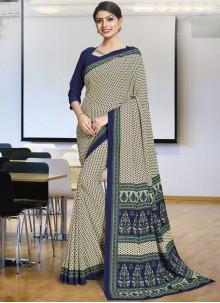 Printed Polly Cotton Casual Saree in Multi Colour