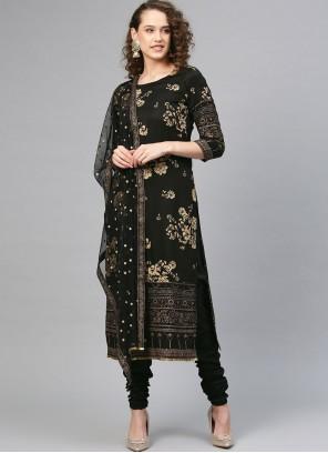 Printed Polyester Churidar Designer Suit