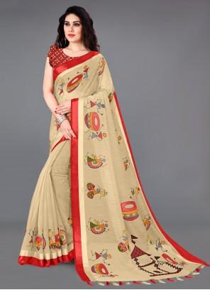 Cream Printed Saree