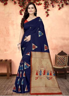 Blue Fancy Fabric Printed Saree