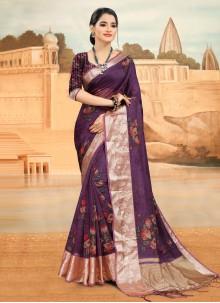 Organza Purple Printed Saree