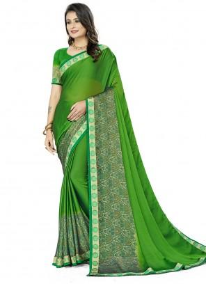 Printed Rangoli Silk Saree in Green