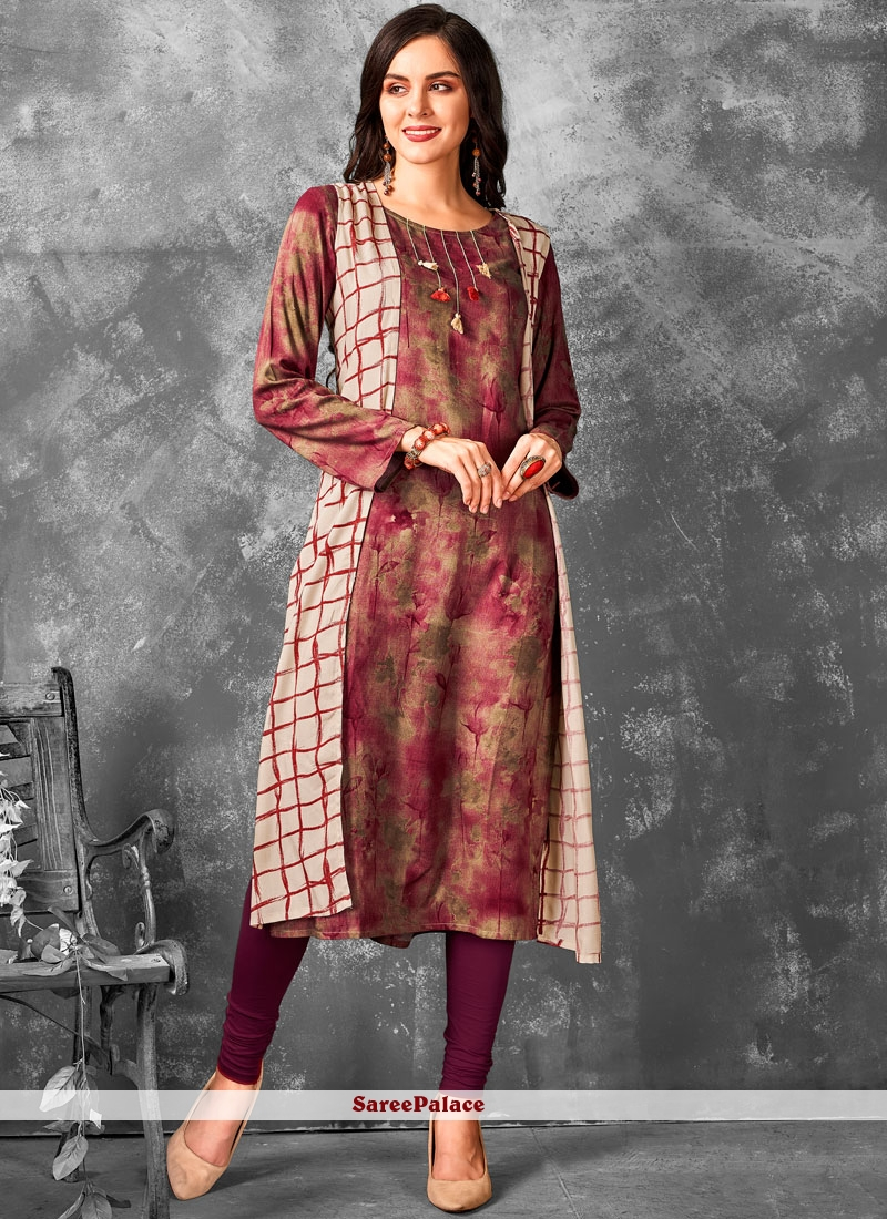 Printed Rayon Brown and Magenta Party Wear Kurti