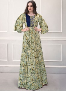 Printed Rayon Designer Gown in Green