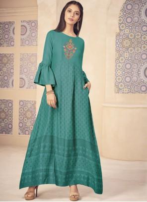 Printed Rayon Designer Kurti in Turquoise