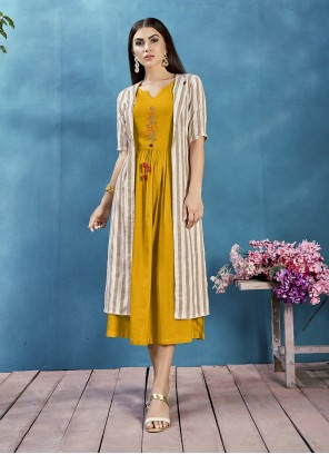 Printed Rayon Jacket Style Kurti in Mustard