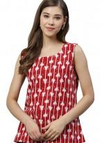 Printed Rayon Kurta in Red