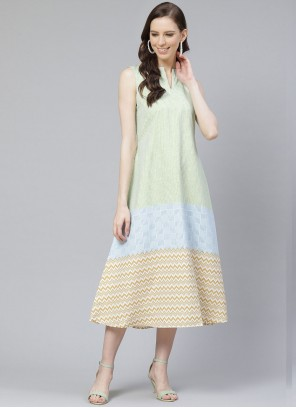 Printed Rayon Multi Colour Party Wear Kurti