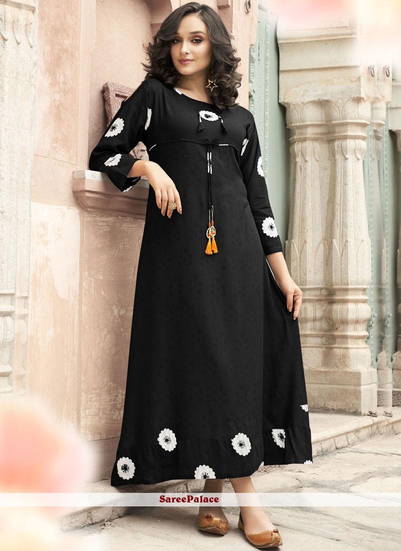 Black Printed Rayon Party Wear Kurti