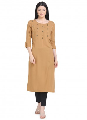 Printed Rayon Party Wear Kurti in Brown