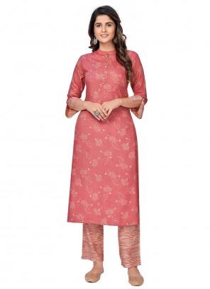 Printed Rayon Party Wear Kurti in Pink