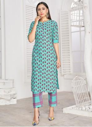 Printed Rayon Turquoise Party Wear Kurti