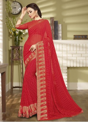 Printed Red Faux Georgette Classic Saree