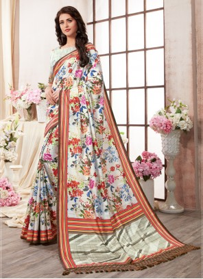 Printed Saree Abstract Print Art Silk in Multi Colour